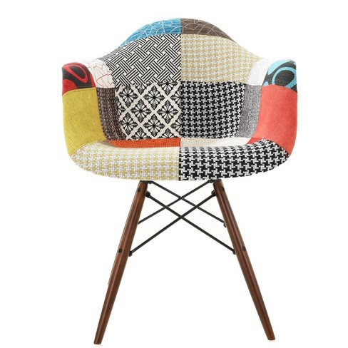 Bianca Mid Century Padded Arm Chair with Walnut Base Patchwork - Edgemod - image 1 of 3