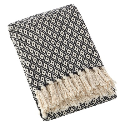 Light Brown Sevan Soft Cotton Diamond Weave Throw Blankets (50 x60 )- Saro Lifestyle®