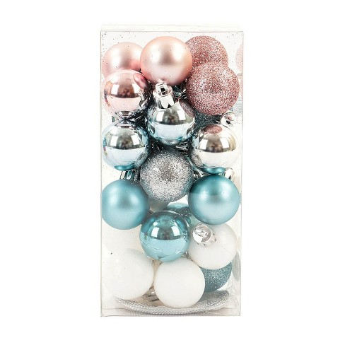 mini ball plastic christmas ornament set light pinklight blueteal 25ct wondershop - Teal And Silver Christmas Decorations