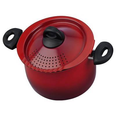 Bialetti 7550 2 In 1 Nonstick Aluminum 5 Quart Oval Shaped Kitchen Pasta Pot with Lockable Strainer Lid and Heat Resistant Handles, Red