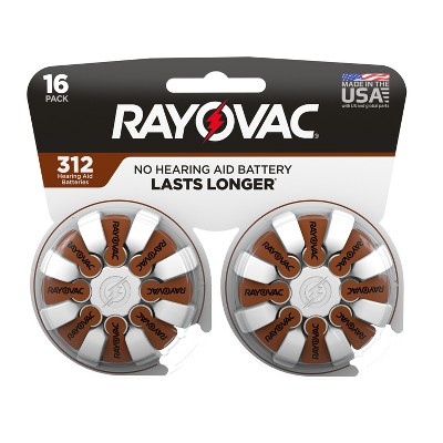 Rayovac Size 312 Hearing Aid Battery - 16pk