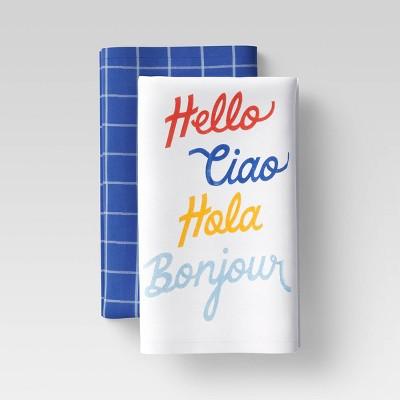 2pk Cotton Hello Ciao Hola Bonjour Kitchen Towel Set - Room Essentials™