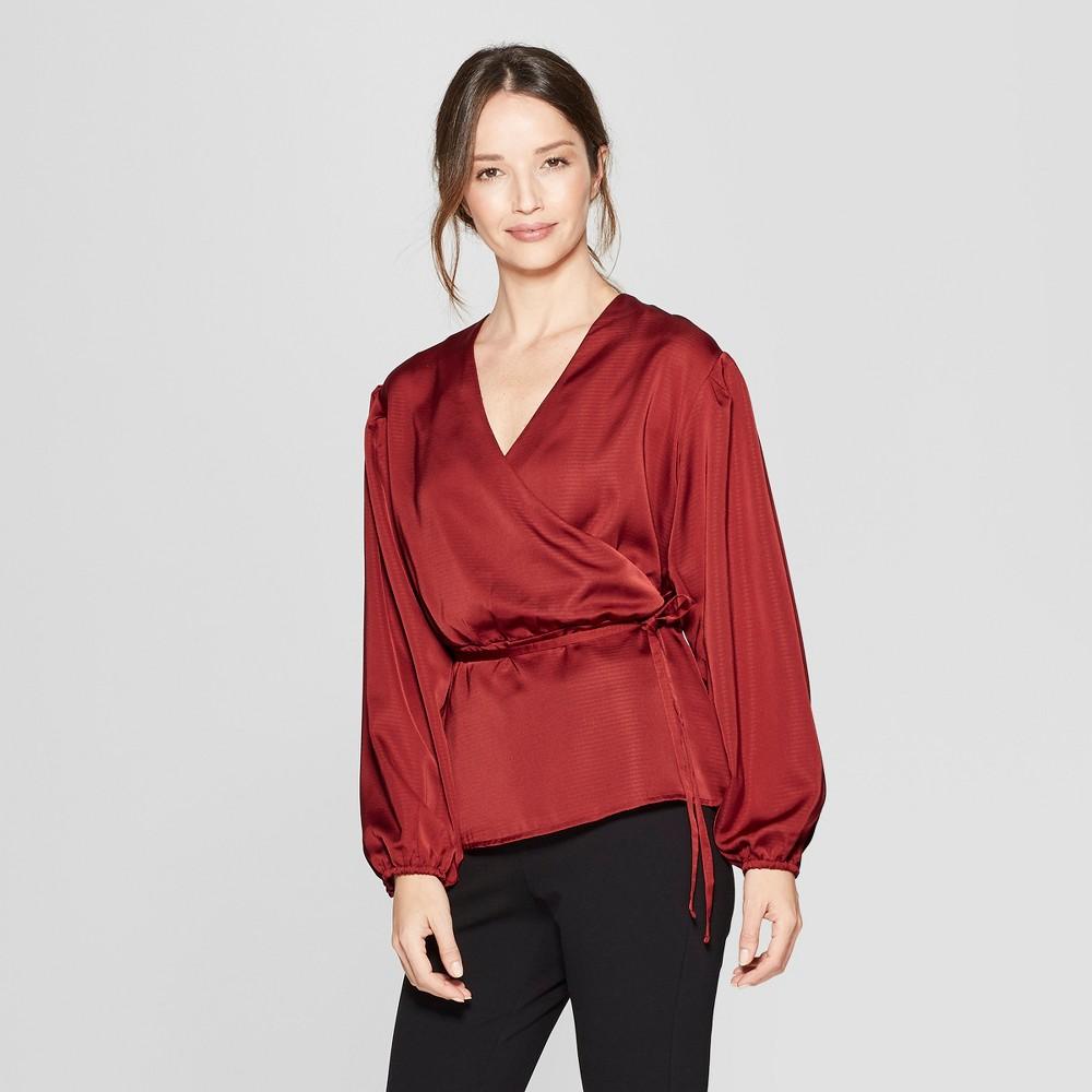 Women's Long Sleeve Wrap Blouse - Prologue Red M