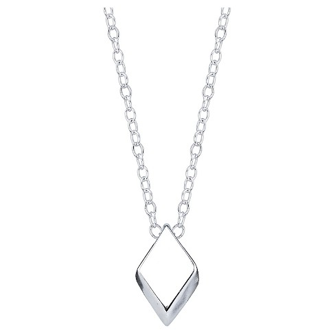 "Women's Sterling Silver Diamond Shape Necklace - Silver (18.4"") - image 1 of 2"