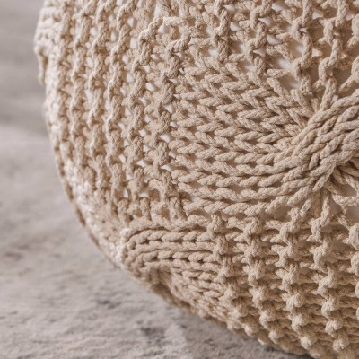 Anouk Knitted Cotton Pouf - Christopher Knight Home : Target