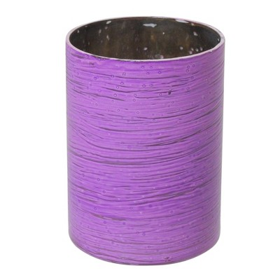 Northlight Set of 4 Decorative Purple and Silver Mercury Glass Ribbed Votive Candle Holders 4.5""