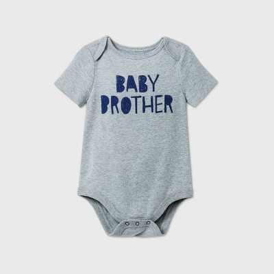 Baby Boys' 'Baby Brother' Short Sleeve Bodysuit - Cat & Jack™ Gray 0-3M
