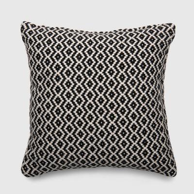 Square Woven Diamond Outdoor Pillow Black - Threshold™