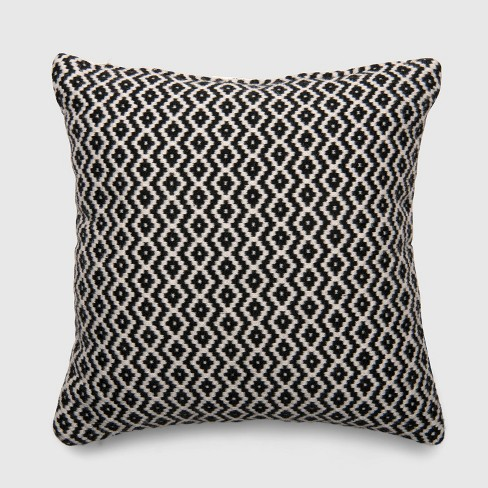 Square Woven Diamond Outdoor Pillow Black - Threshold™ - image 1 of 1