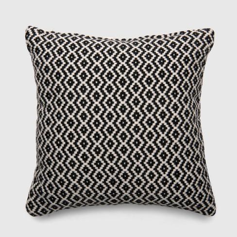 Square Woven Diamond Outdoor Pillow Black - Threshold™ - image 1 of 1