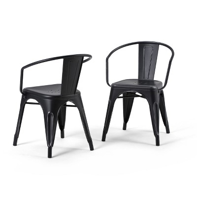 Set of 2 Elisse Metal Dining Armchairs Distressed Black/Silver - WyndenHall