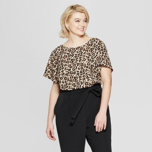 ca4ef85acb Women s Plus Size Leopard Print Short Sleeve Button Back Top - Ava   Viv™  Brown   Target