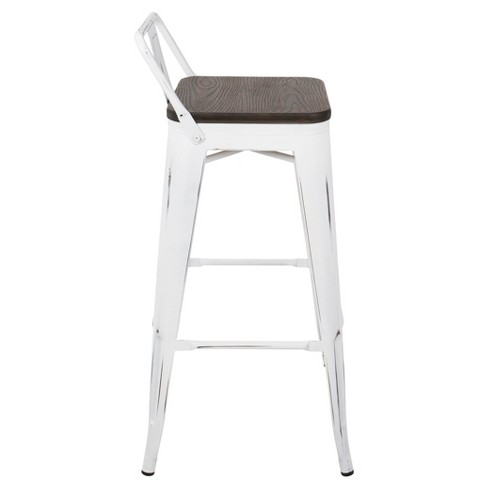 Oregon Industrial Low Back Bar Stool With Vintage (Set Of 2) - White Frame  And Espresso Wood - Lumisource   Target d89bca2006