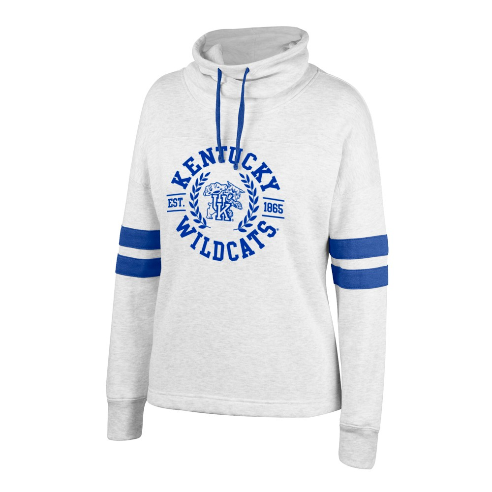 Kentucky Wildcats Women's Long Sleeve Cowl Neck Fleece Sweatshirt - L, Gray