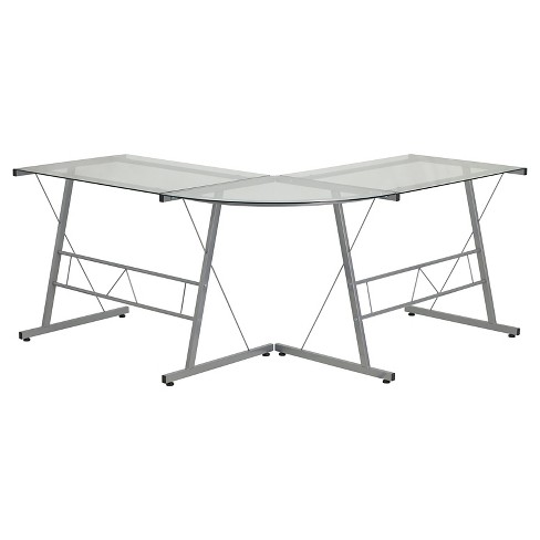 Glass L Shape Computer Desk With Silver Frame Finish Flash Furniture Target
