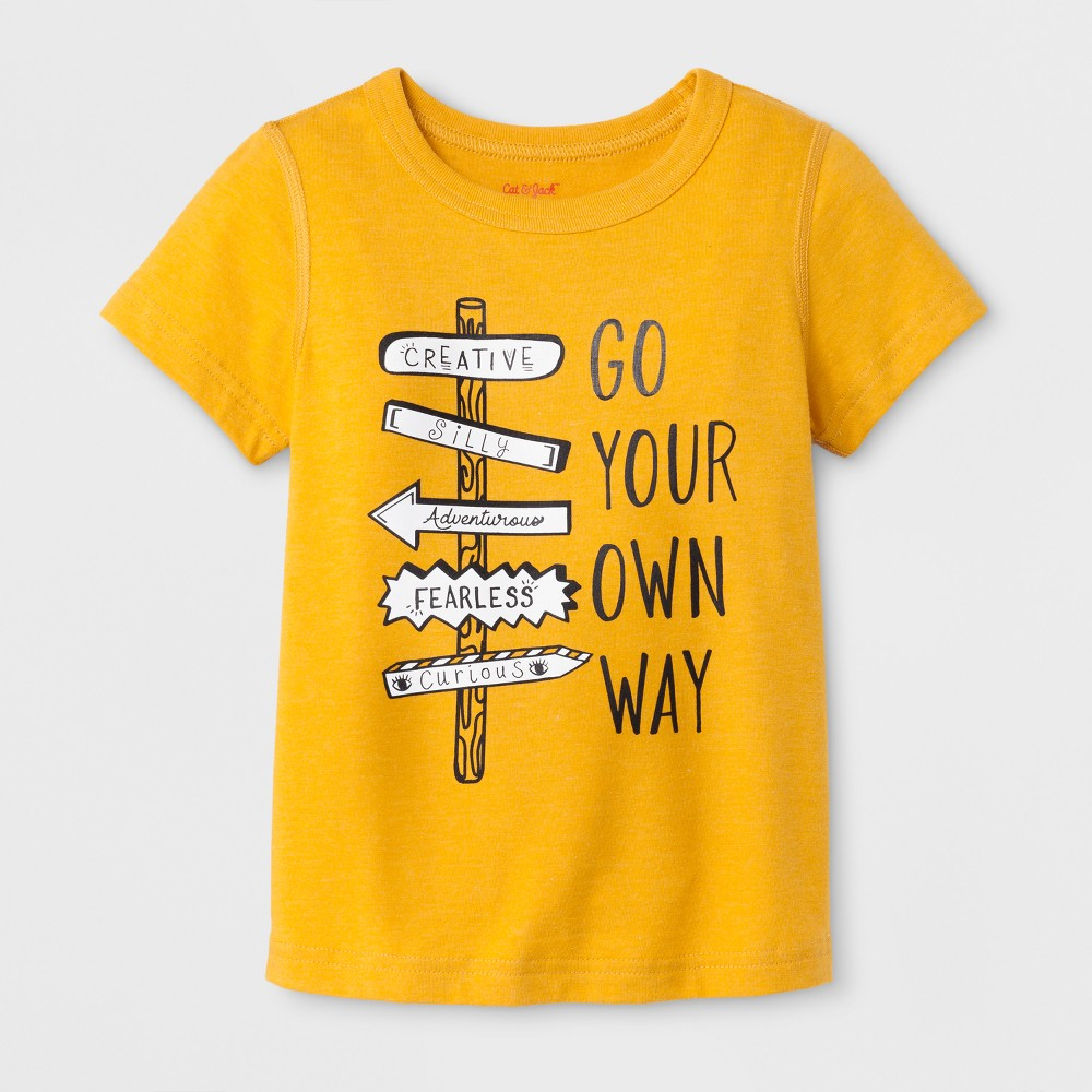 Toddler Boys' Adaptive Short Sleeve Go Your Own Way Graphic T-Shirt - Cat & Jack Mustard Yellow 5T