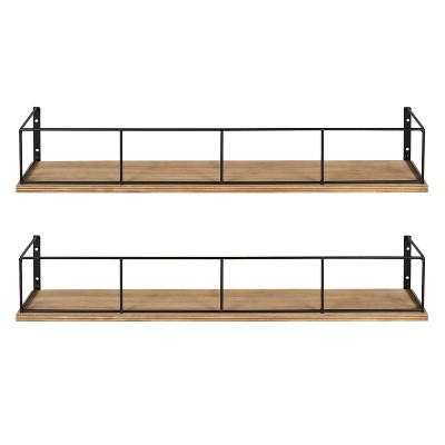 24  x 4  2pc Decorative Wall Shelf Set Brown/Black - Uniek