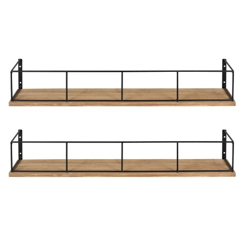 Decorative Wall Shelf Set of 2 - Brown/Black - image 1 of 5
