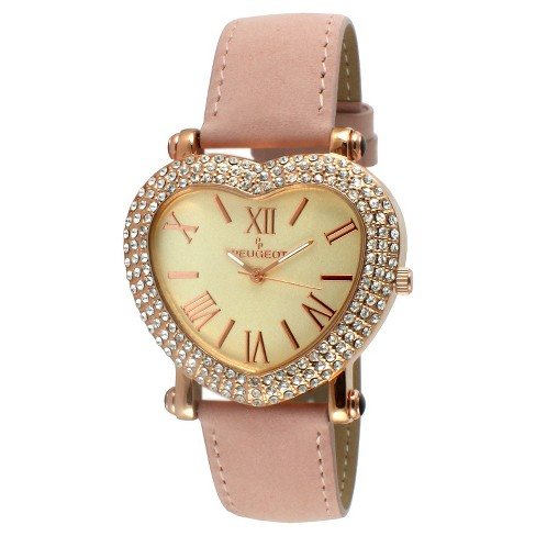 Women's Peugeot® Heart Shaped Crystal Watch - Pink - image 1 of 2
