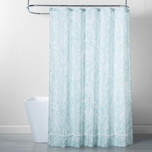 Caribbean Leaf Shower Curtain Aqua