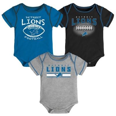 NFL Detroit Lions Baby Boys' Bodysuit Set 3pk - 6-9M