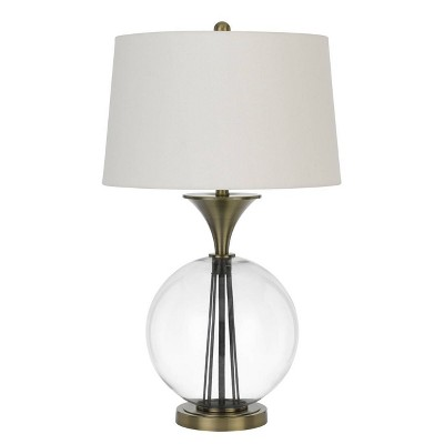 """30.5 """" Glass and Metal Table Lamp with Hardback Taper Drum Linen Shade Antique Brass - Cal Lighting"""