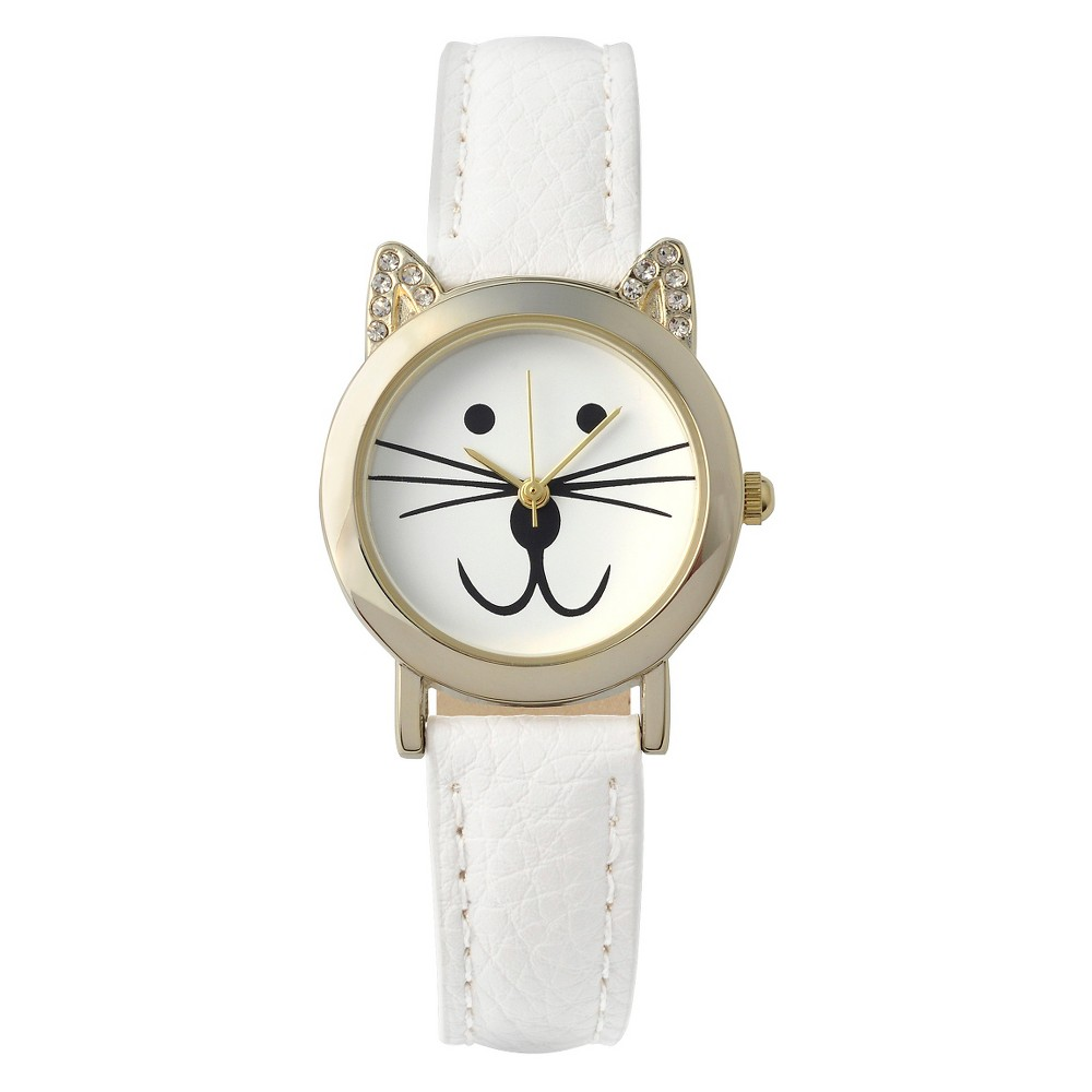 Women's Geneva Platinum Rhinestone Accent Cat Face Simulated Leather Band Watch - White