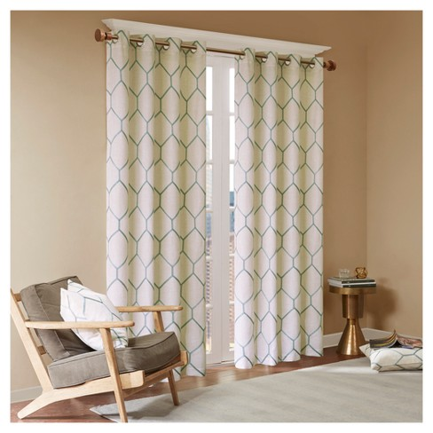 Peyton Metallic Geo Embroidered Window Curtain Panel - image 1 of 4