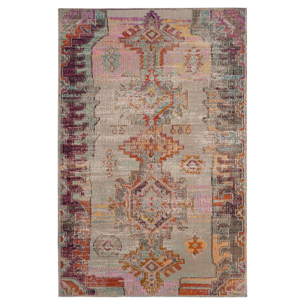 Light Gray/Purple Tribal Design Loomed Area Rug 5'X8' - Safavieh, Purple Gray