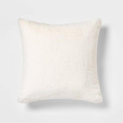 Oversized Faux Rabbit Fur Square Throw Pillow Cream - Threshold™