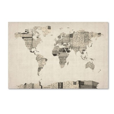 "22"" x 32"" Vintage Postcards World Map by Michael Tompsett - Trademark Fine Art"