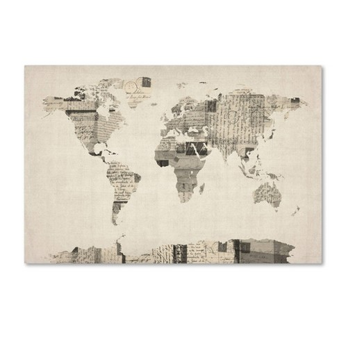 Vintage Postcards World Map' By Michael Tompsett Ready To Hang ... on