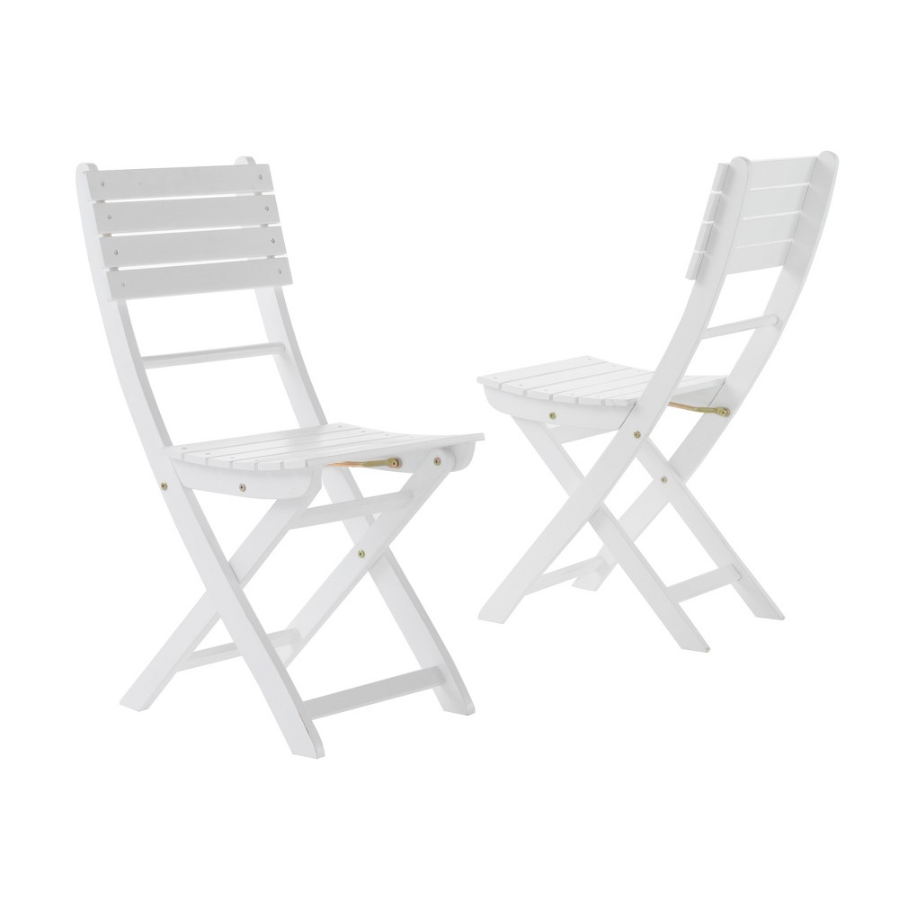 Positano Set of 2 Acacia Wood Foldable Dining Chairs - White Finish - Christopher Knight Home