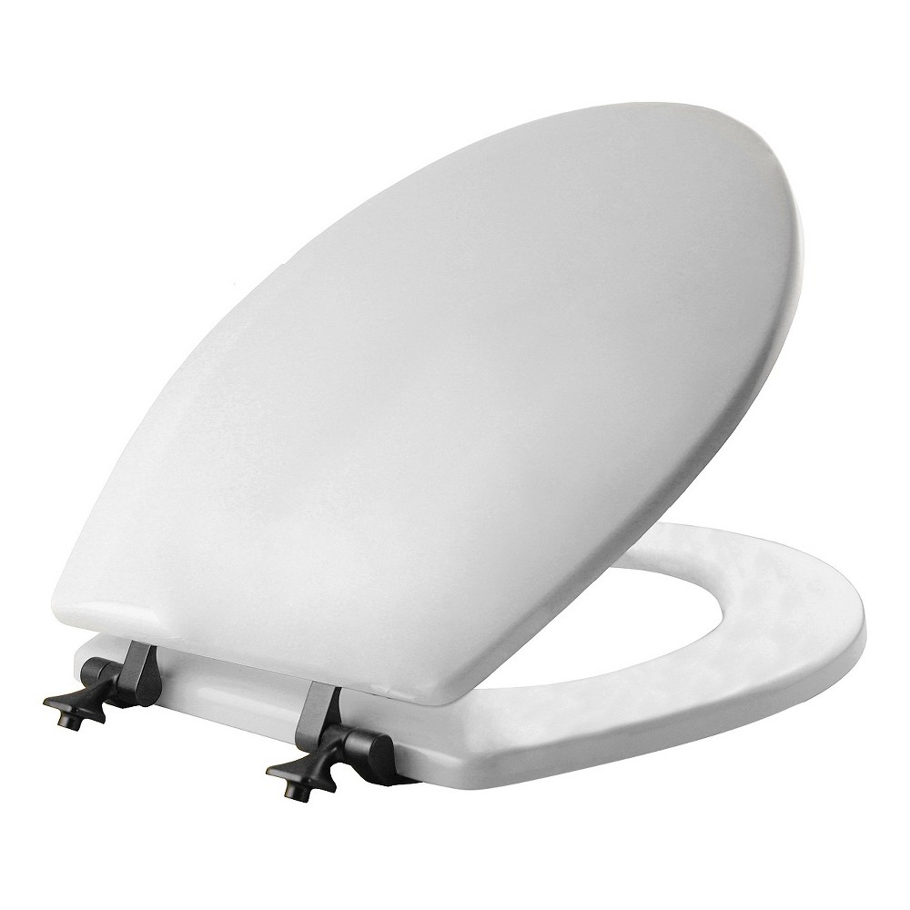 Mayfair Round Molded Wood Seat with Oil Rubbed Bronze Hinge and Sta-Tite Toilet Seat White - Mayfair