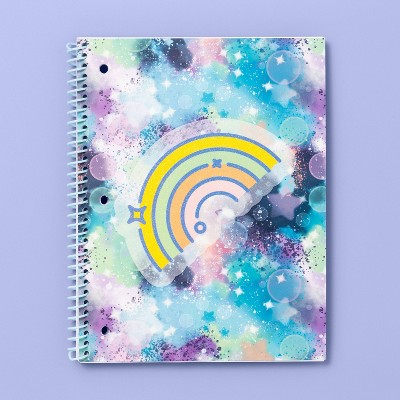 Spiral Notebook 1 Subject Wide Ruled Dreamscape Rainbow Marble - More Than Magic™