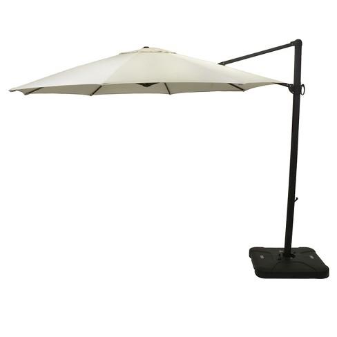 sunbrella 11 round offset patio umbrella with base black pole smith hawken - Sunbrella Patio Umbrellas