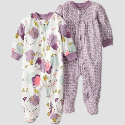 Baby Girls' 2pk Floral Sleep N' Play - little planet by carter's Purple
