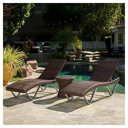 San Marco 3pc Wicker Patio Chaise Lounge Set - Multi Brown - Christopher Knight Home