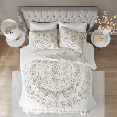 3pc Valeria Tufted Cotton Chenille  Coverlet Set