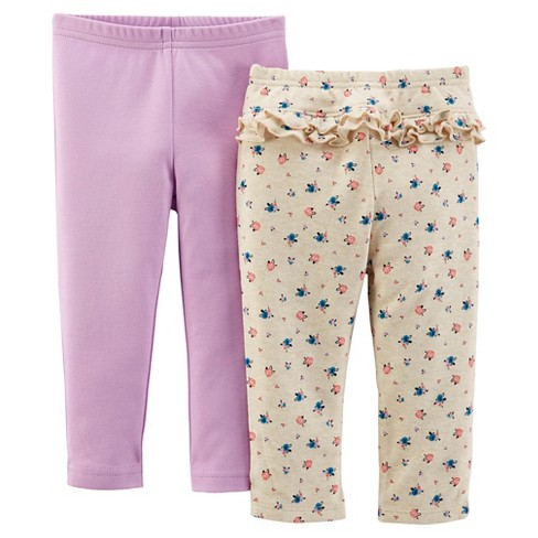 Just One You™ Made by Carter's® Baby Girls' 2pk Trouser Pant - Floral/Purple 3 M - image 1 of 1