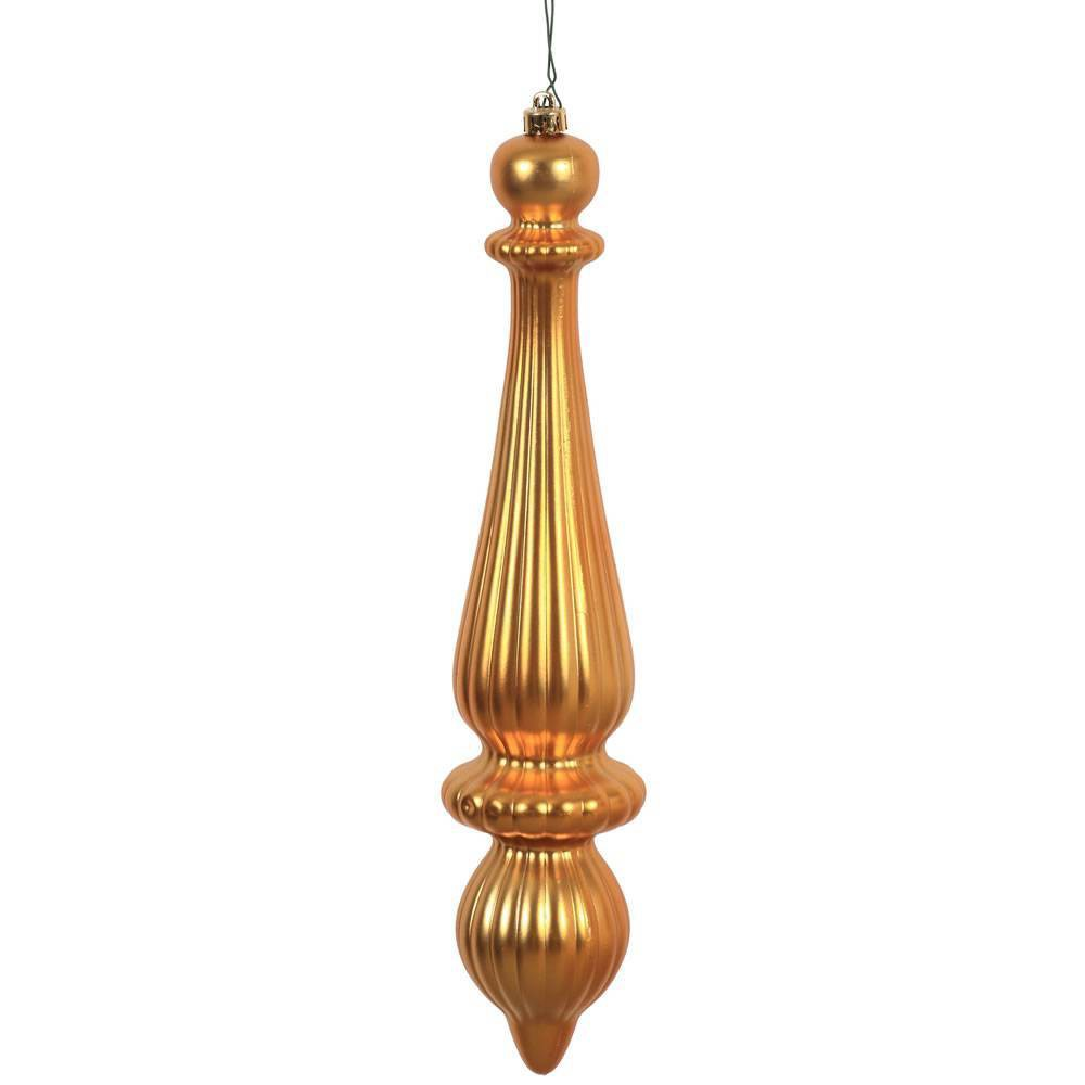 "Image of ""2ct Vickerman 14"""" Matte Finial Drop, UV Coated Ornament Set Honey Gold"""