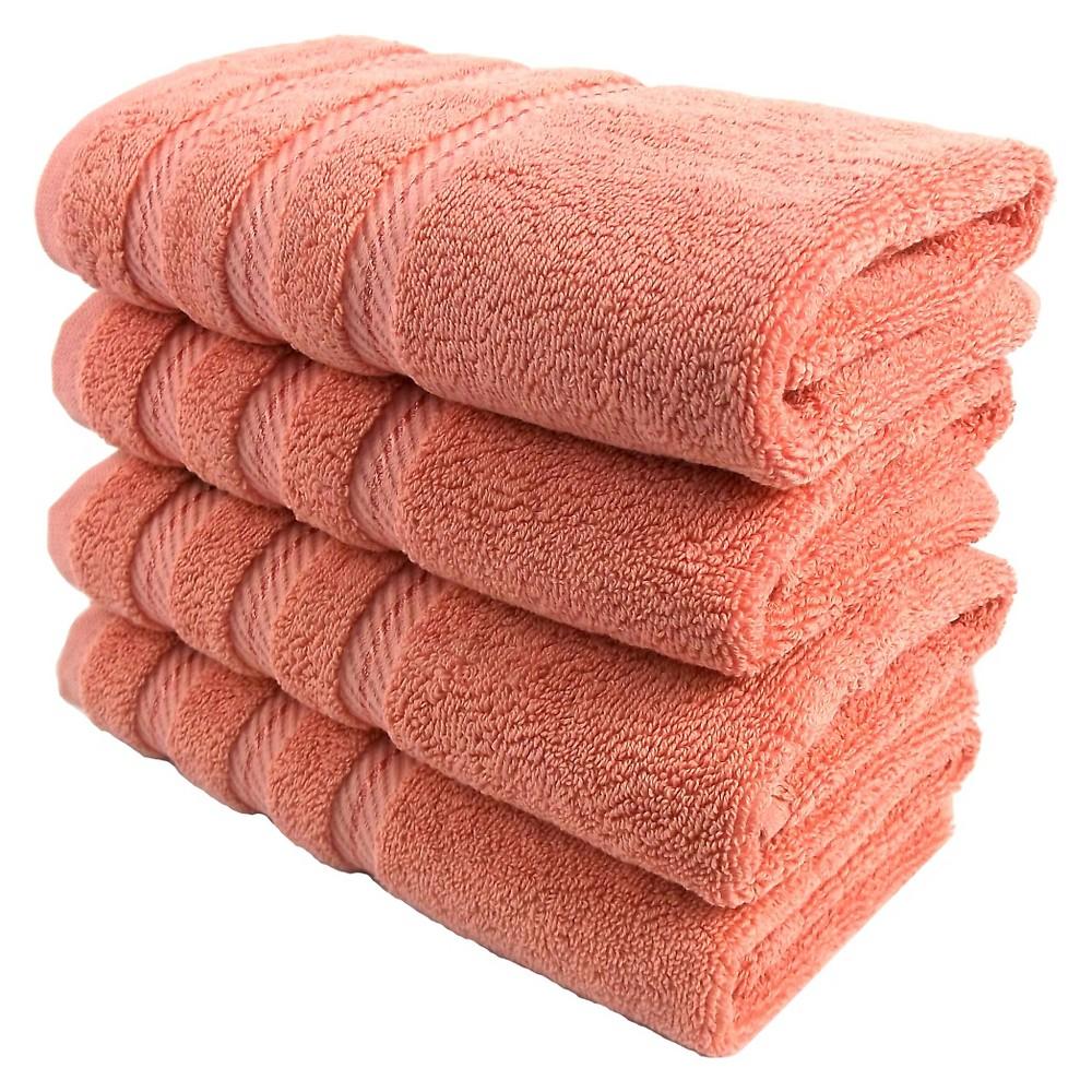 Image of 4pc Antalya Turkish Hand Towels Set Salmon (Pink) - Makroteks