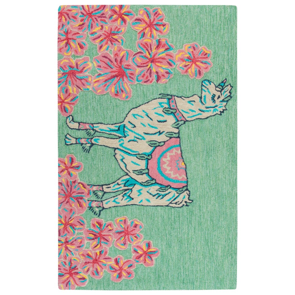 "Image of ""2'6""""X4' Tufted Unicorn Accent Rug Green - Rizzy Home"""