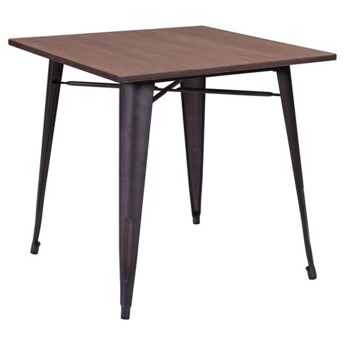 Rustic Bamboo And Galvanized Steel 29 5 Square Dining Table Faux Rust Zm Home