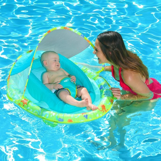 Swimways Infant Baby Spring Float with Canopy - Green image number null
