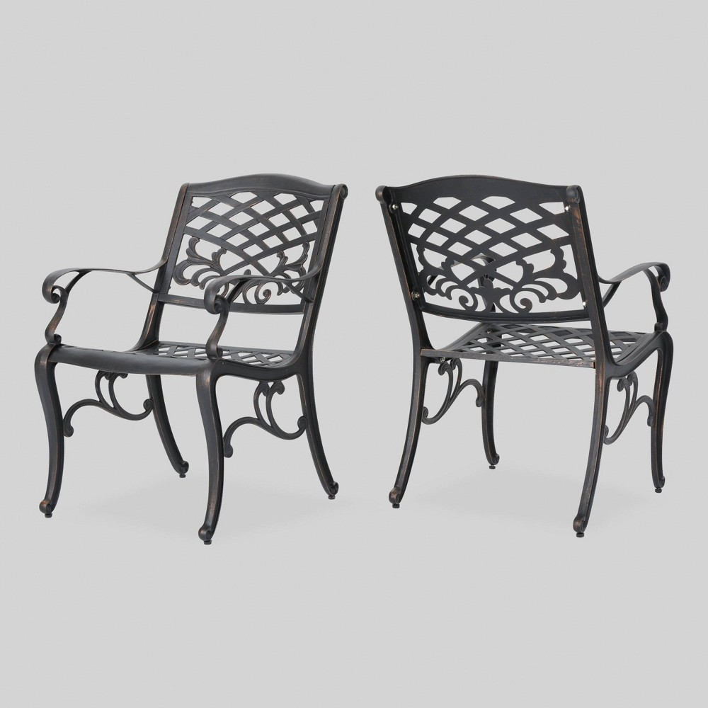 Sarasota 2pk Cast Aluminum Patio Dining Chair - Copper (Brown) - Christopher Knight Home