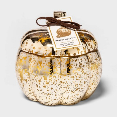 12oz Lidded Mercury Glass Pumpkin Jar 2-Wick Pumpkin Spice Candle - Threshold™