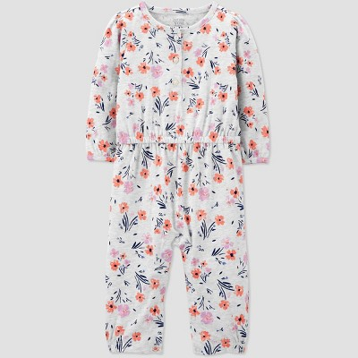 Baby Girls' Floral Romper - Just One You® made by carter's Heather Gray