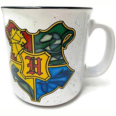 Silver Buffalo Harry Potter Stained Glass Hogwarts Crest 20 Ounce Ceramic Camper Mug