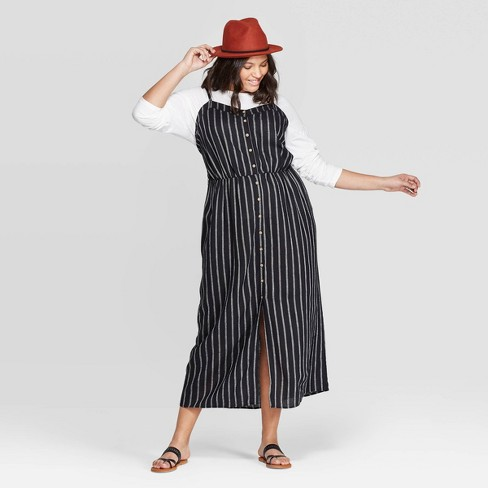 Women\'s Plus Size Striped Sleeveless V-Neck Button Front Maxi Dress ...
